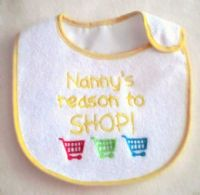 Embroidered Nanny's reason to shop baby bib